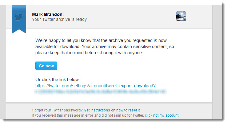 Email from twitter