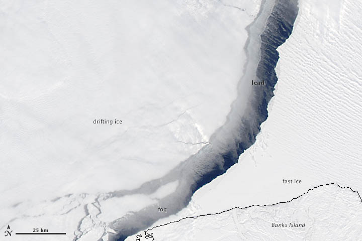 A lead in the Arctic Ocean