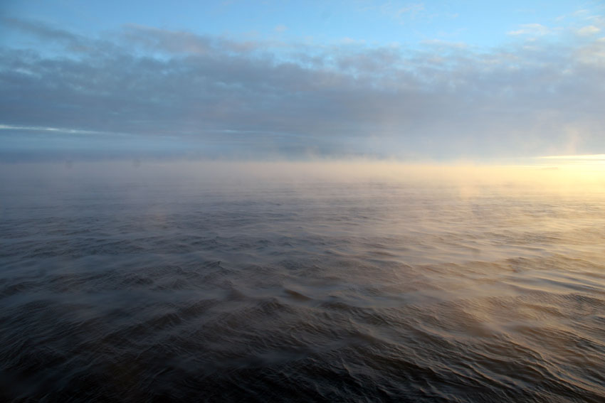 Sea smoke rising from the Southern Ocean