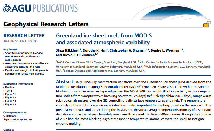 Häkkinen et al., 2014 Greenland ice sheet melt from MODIS and associated atmospheric variability