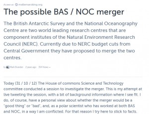 Storify of the possible merger of BAS and NOC