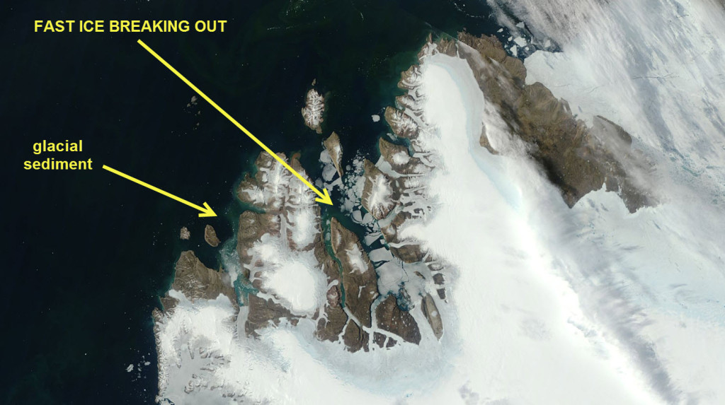 Fast ice breaking out of an East Greenland fjord