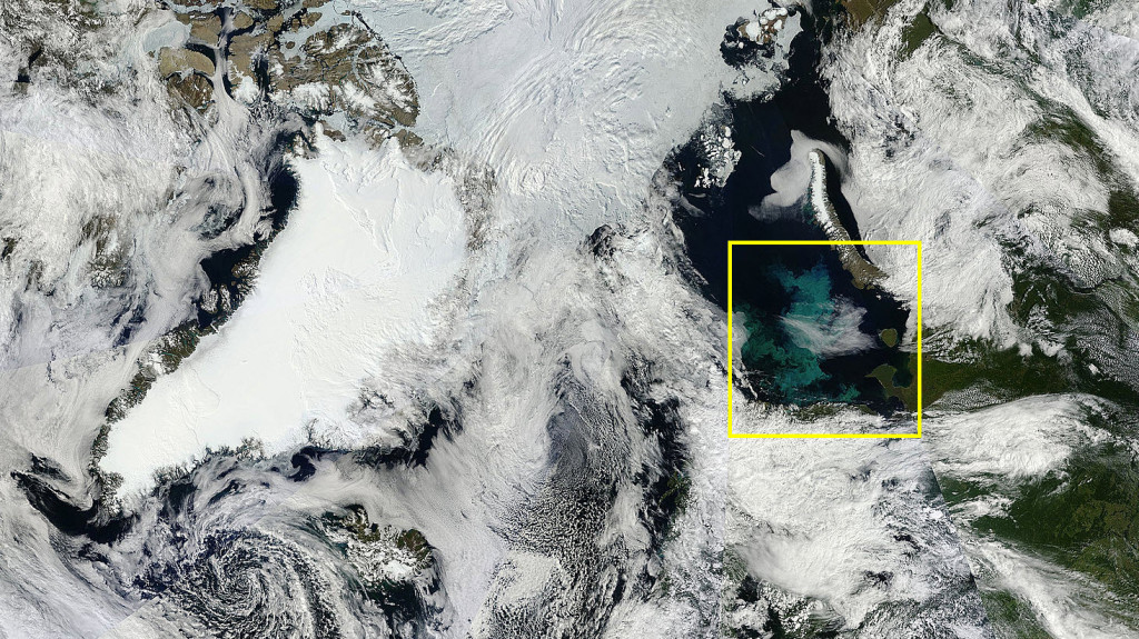The Arctic on 29 July 2015 in MODIS imagery