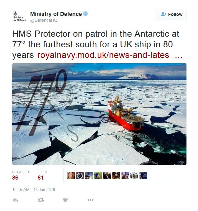 The Tweet posted by MOD on 18th Jan 2016