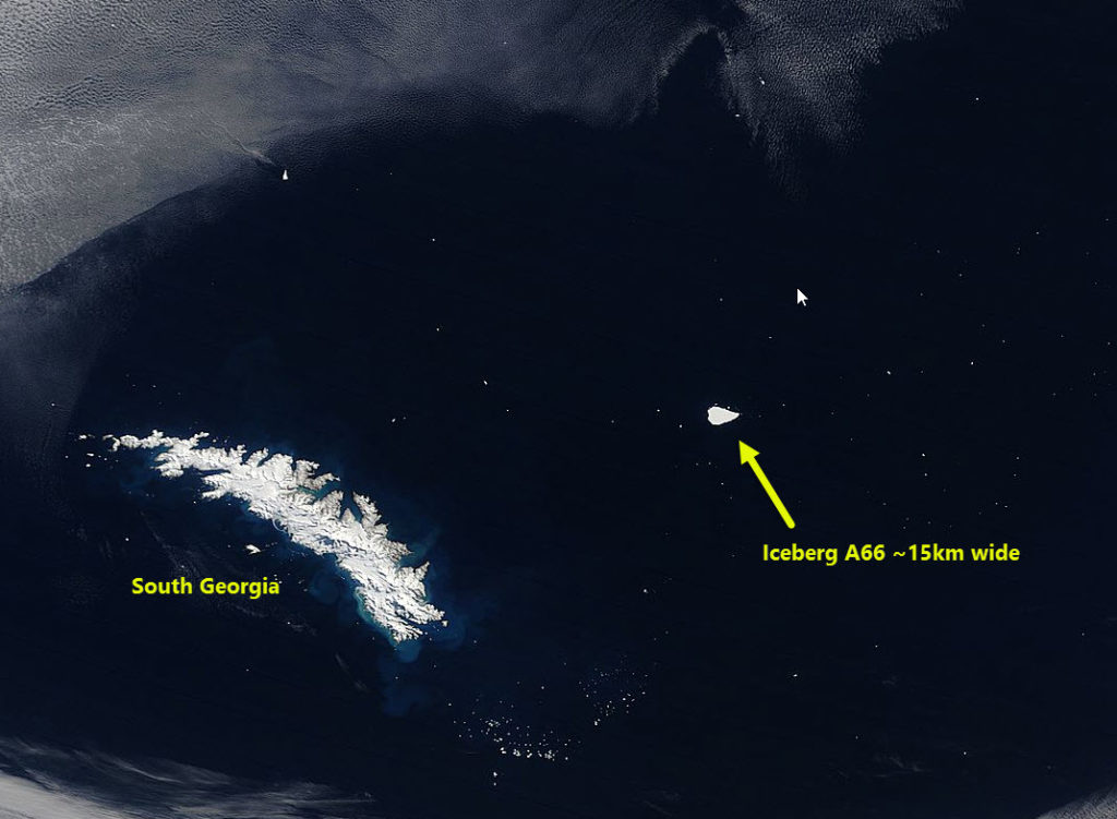 Iceberg A66 passing South Georgia captured in a MODIS image on the 26 September 2016.