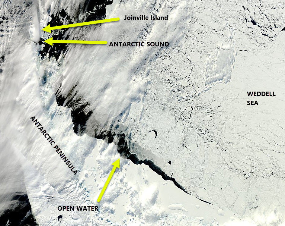 The MODIS imagery for the Antarctic Peninsula 25 September 2016.