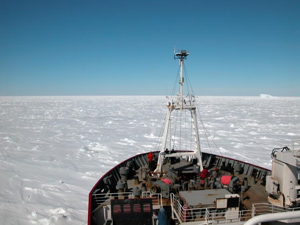James Clark Ross making very slow progress in compressed sea ice in Marguerite Bay, the Western Antarctic Peninsula.