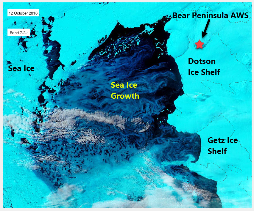The Dotson Getz polynya 12th October 2016 in MODIS bands 7-2-1. The frazil ice growth in the polynya is clear.
