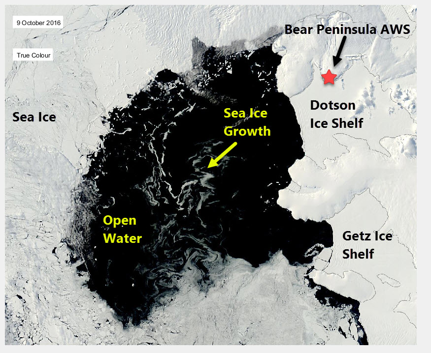 The Dotson Getz polynya on 9 October 2016. Open water is black and streaks of sea ice growth are clear. The location of the Bear Peninsula Automatic Weather Station is marked.