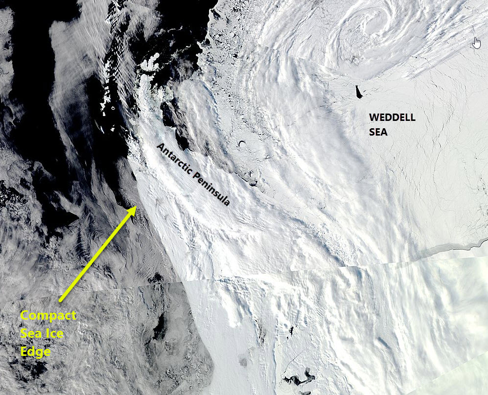 MODIS image of the Antarctic Peninsula 5 October 2016 from the Aqua satellite.