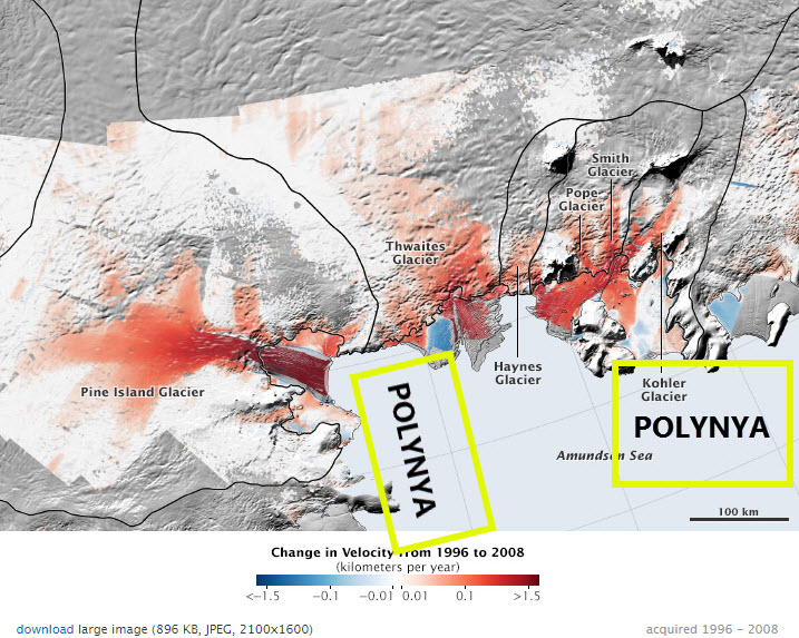 Decline of West Antarctic Glaciers Appears Irreversible. NASA, Amundsen Sea