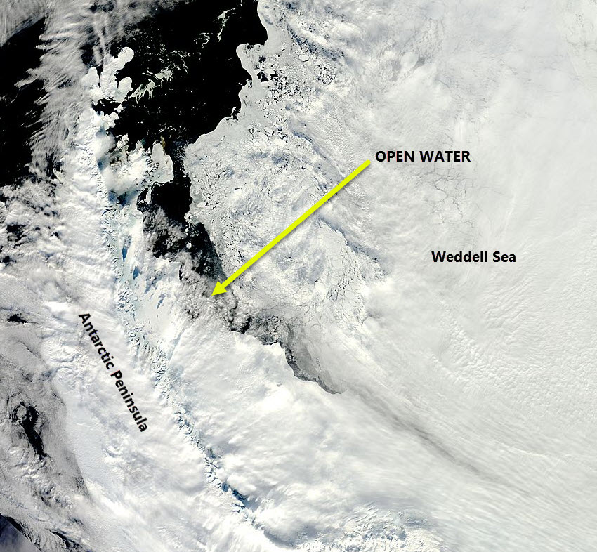 MODIS image of the Western Weddell Sea 30 September 2016. The Open Water is clear.