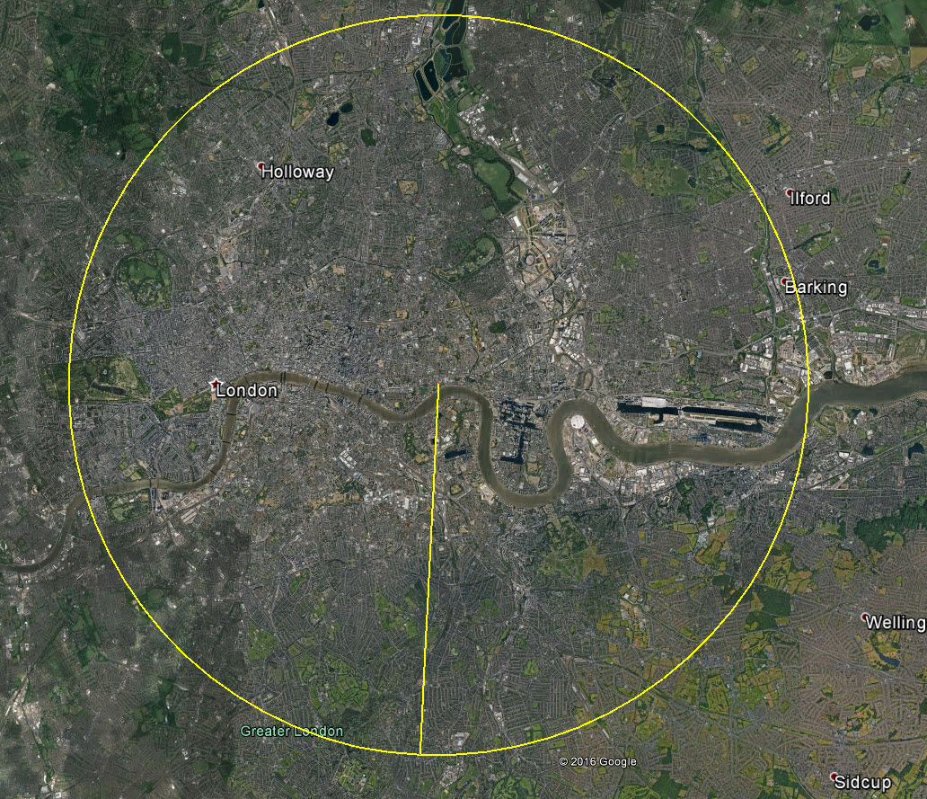 London with a 5 mile circle drawn on it