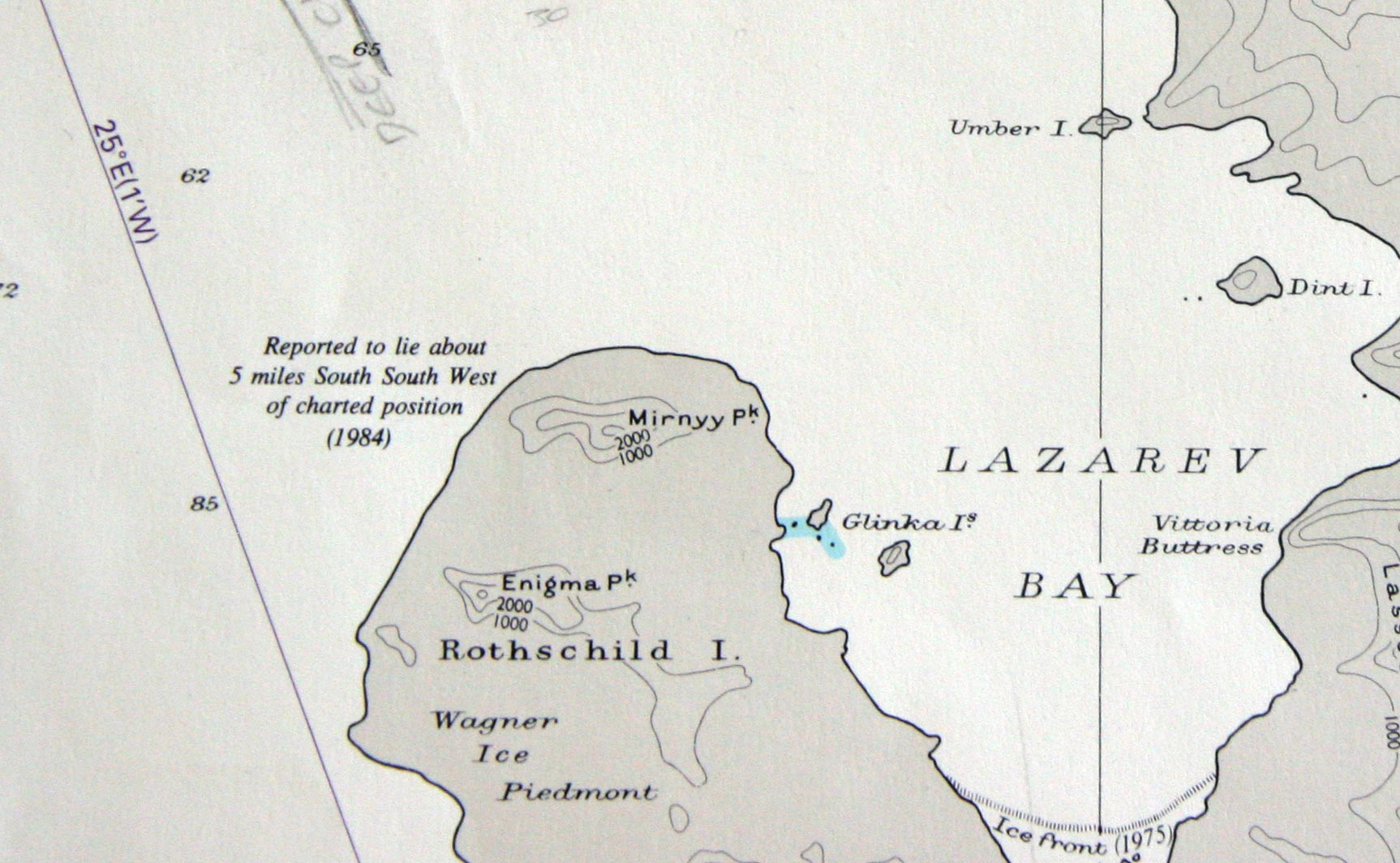 The coastline of Rothschild Island just to the west of Alexander Island, Antarctica. The navigation chart says the coastline location could be 5 miles in error