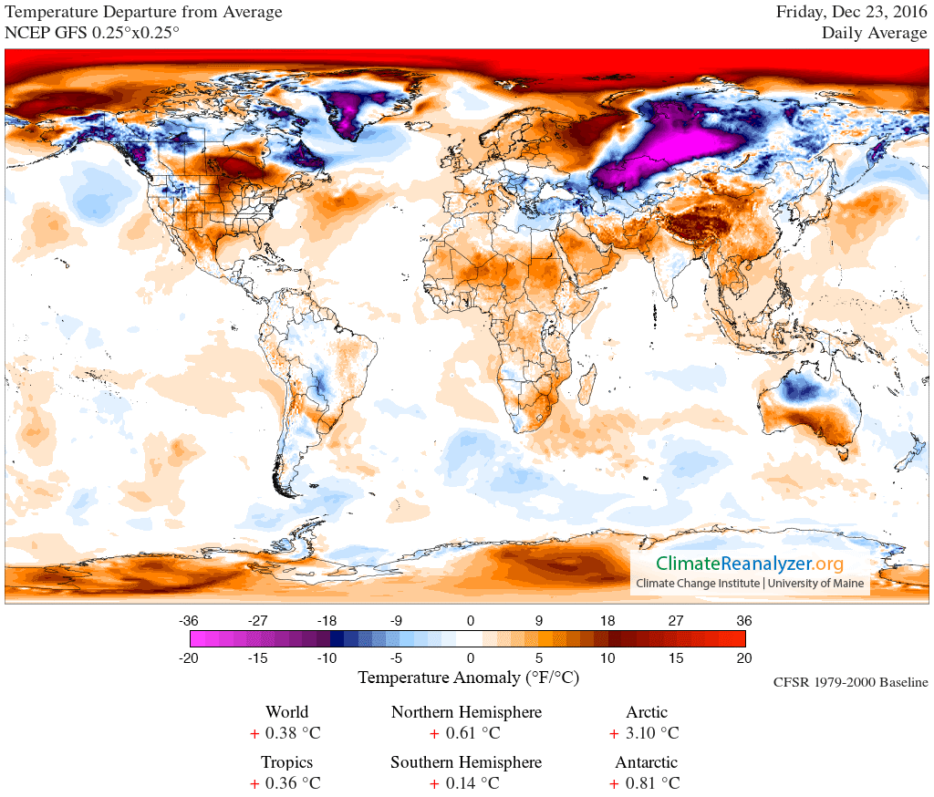 The temperature anomaly from Climate Reanalyzer.org. Temperature at 2 m above the surface in reference to a 1979-2000 climatology derived from the reanalysis of the NCEP Climate Forecast System (CFSR/CFSV2) model.