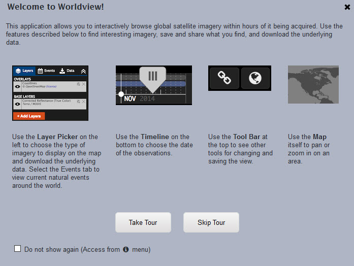 Worldview tour screen