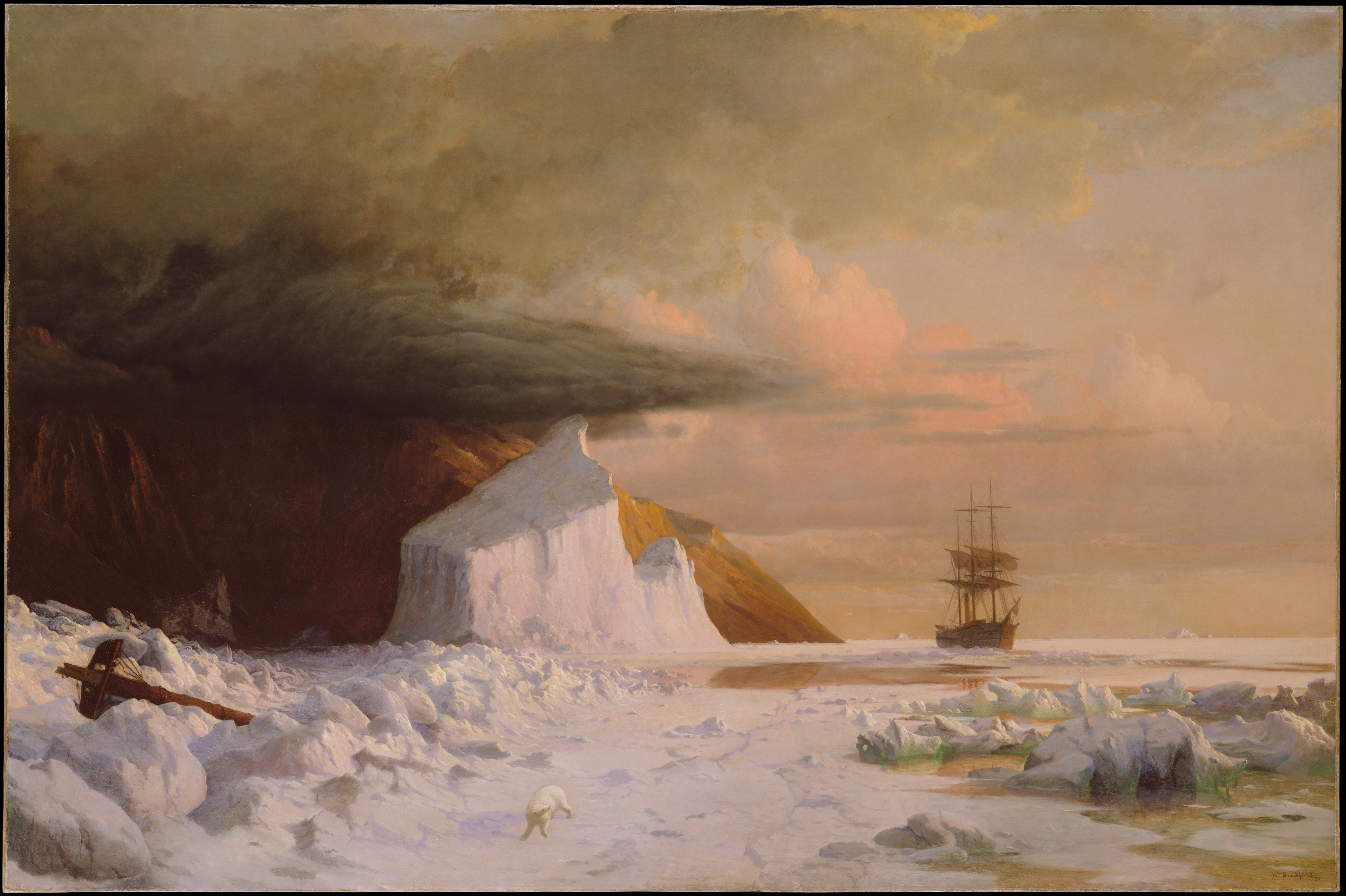 An Arctic Summer: Boring Through the Pack in Melville Bay by William Bradford, 1871