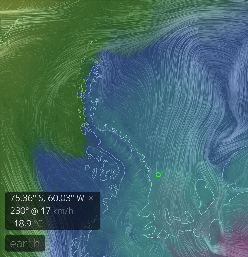 Image from nullschool.net. The colours are air temperature, the lines the wind direction. The green circle is the location for which the temperature and wind velocity are shown. -18.9C and 17 km/h.