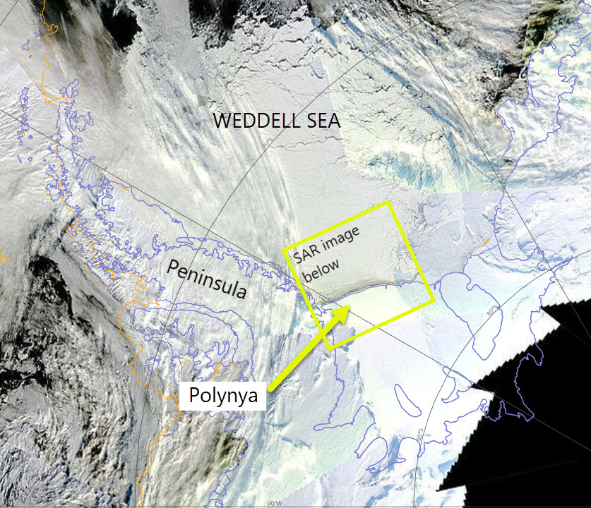 The Ronne Polynya can see seen in the South West Weddell Sea satellite data on 15 May 2017. The box marks the approximate image of the SAR image below.