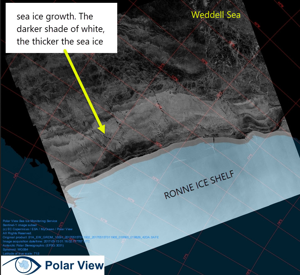 Sentinel 1 Synthetic Aperture Radar (SAR) Image 15 May 2017 in the South West Weddell Sea. From PolarView.