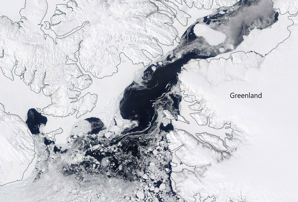 North Water polynya. Image from MODIS data 14 May 2017.
