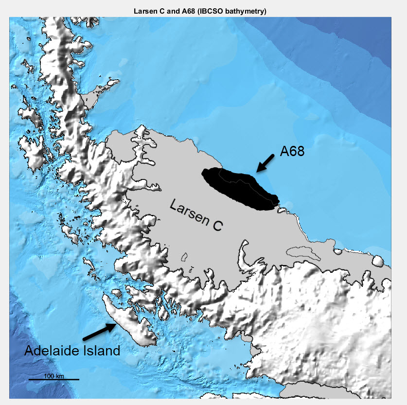 Larsen C Ice shelf on the Antarctic Peninsula and the location and area of iceberg A68. The outline of A68 is derived from a satellite image of the ice shelf 12 July 2017.