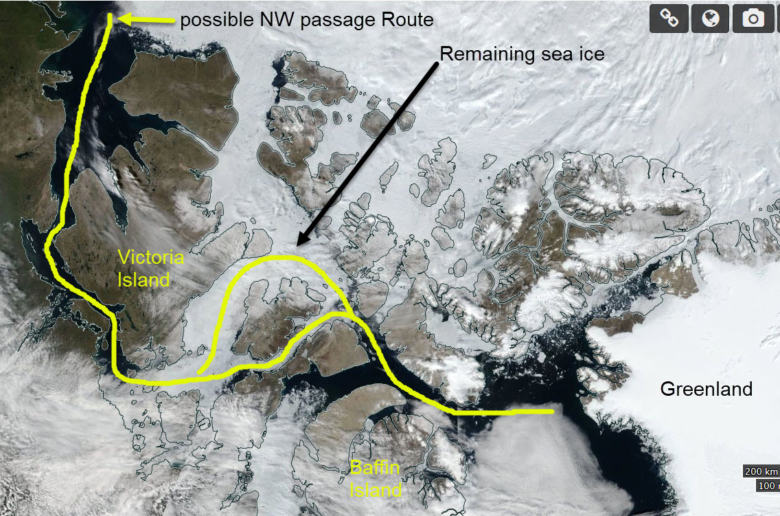 The North West Passage. Image 22 July 2017 from the Suomi National Polar-orbiting Partnership Visible Infrared Imaging Radiometer Suite.