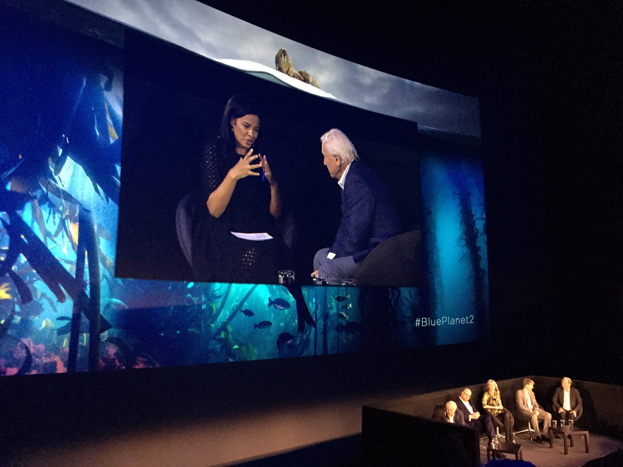 Liz Bonnin interviewing Sir David Attenborough After the World Premiere of Blue Planet 2.