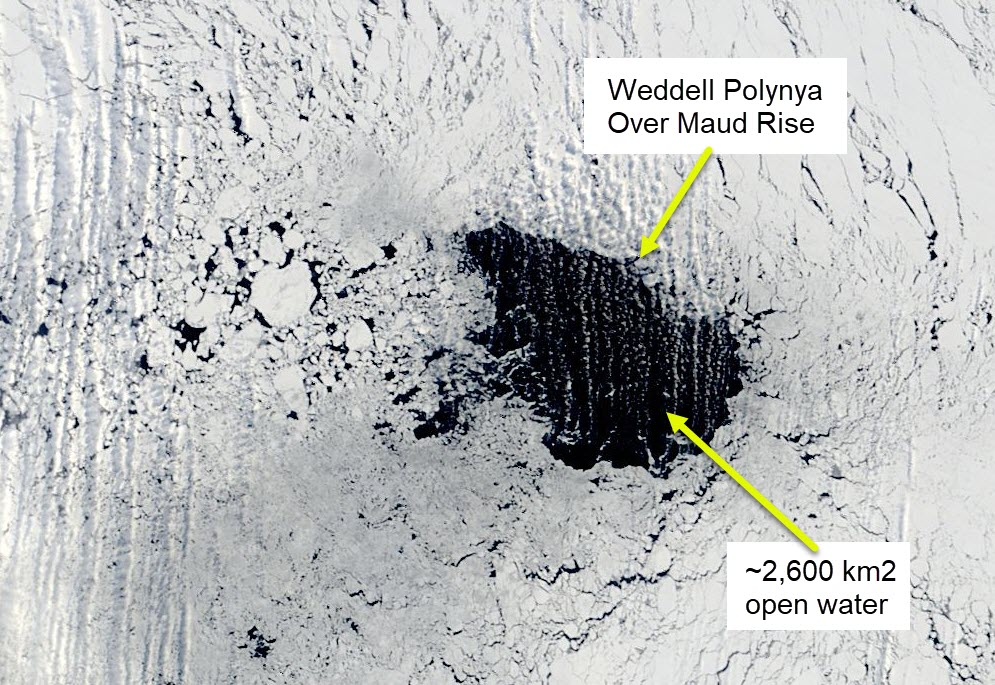 The open water of the Weddell Polynya 7 September 2017. There ~2,600 km2 of open water, and the sea ice also clearly has a lower concentration to the south west.