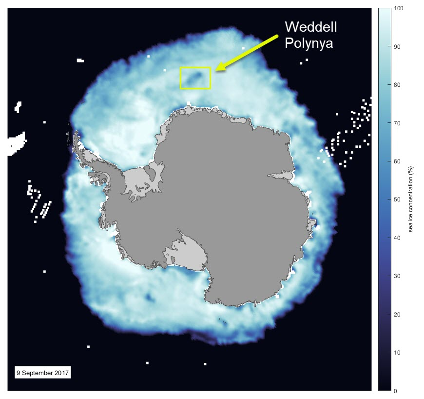 The Antarctic sea ice concentration 9 September 2017. The location of the polynya is marked and the original data come from the DMSP SMMI data set at the NSIDC.