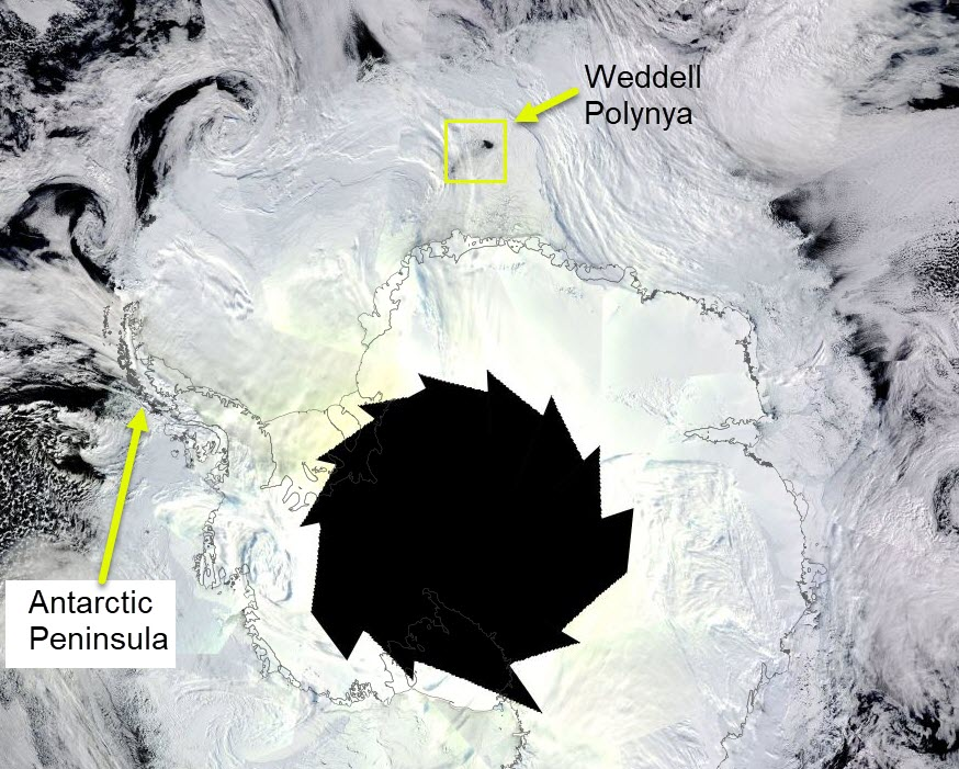 The MODIS imagery mosaic of Antarctica from 7 September 2017 from the MODIS sensor on the Terra satellite. The pattern in the centre of the image is because high latitudes of Antarctica are still dark at this time in winter.