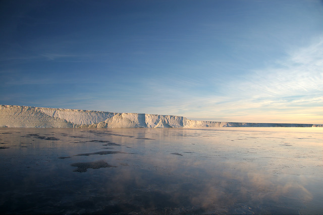 The Stange Ice Shelf with a thin skim of sea ice in front.