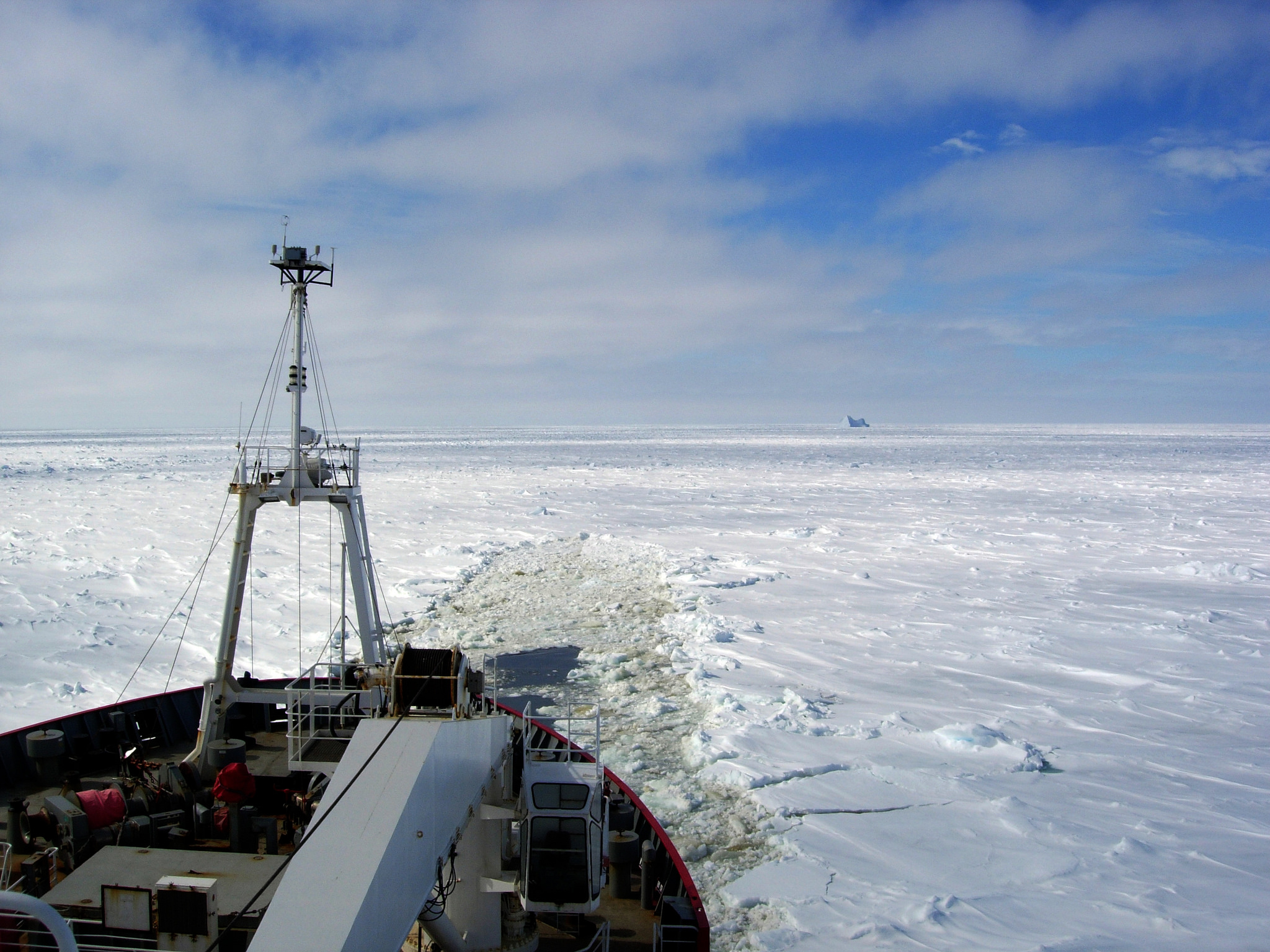 Breaking Antarctic sea ice on the RRS James Clark Ross.
