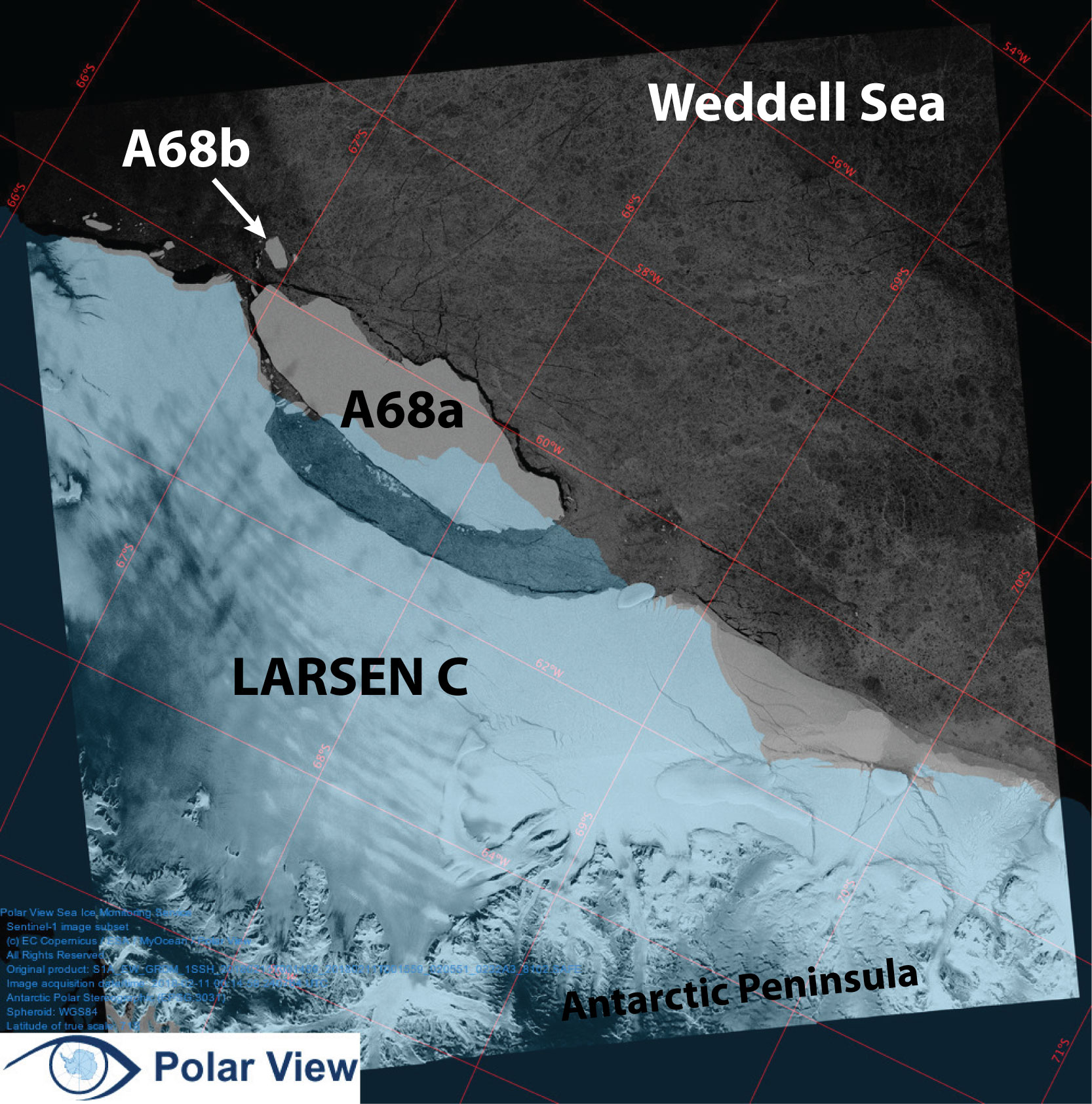 Iceberg A68 and the Larsen C Ice shelf captured from with the Sentinel-1 SAR sensor 11 February 2018.