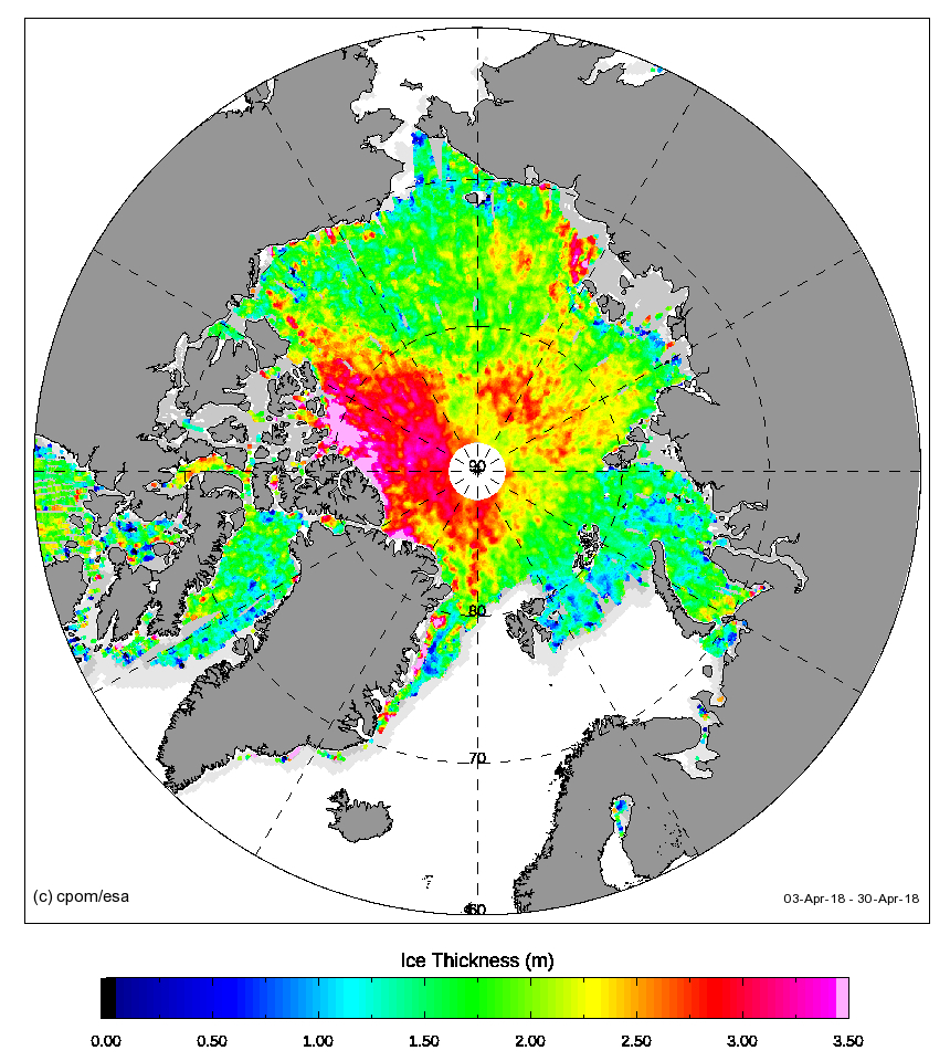 Arctic sea ice thickness processed at UCL from CryoSat's SAR mode data: NOTE THIS IS END OF APRIL 2018. NRT Service Suspended during Arctic summer (May-Sept).